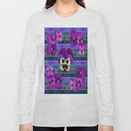 Purple Pansies on  Green-Purple  Grid Abstract Pattern Art Long Sleeve T-shirt