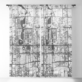 Beijing city map black and white Sheer Curtain