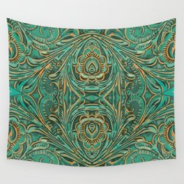 old west country cowboy fashion teal green western leather  Wall Tapestry