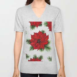 Poinsettia and fir branches pattern Unisex V-Neck