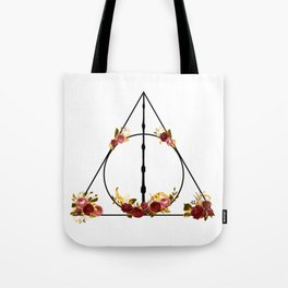 Deathly Hallows in Red and Gold Tote Bag