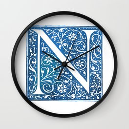 Letter N Antique Floral Letterpress Wall Clock