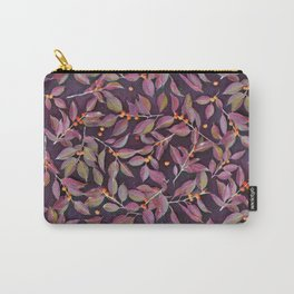 Leaves + Berries in Olive, Plum & Burnt Orange Carry-All Pouch