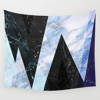 frozen Wall Tapestries featuring Marble stone ( frozen ) by Marta Olga Klara