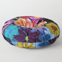 Colorful Fractal Flowers Floor Pillow