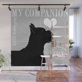 BOXER – My Companion - Grey Wall Mural