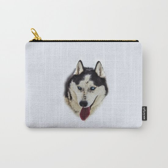 Siberian Husky with blue eyes Carry-All Pouch