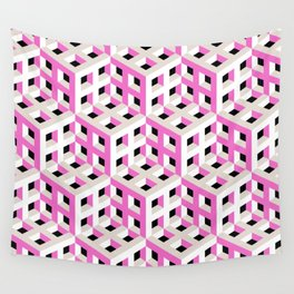 Pink and White Pattern with Gray and Black Fractal Art Wall Tapestry