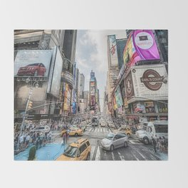 Times Square Traffic (digitally painted) Throw Blanket