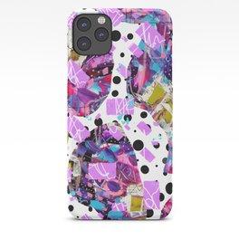 Purple, magenta, and green, digital abstract polka dot design iPhone Case
