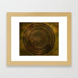 Lime Brown Mandala Framed Art Print