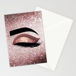 Rose gold Lashes Eye Stationery Cards