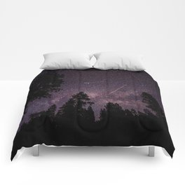 Busy Sky - Shooting Stars, Planes and Satellites in Colorado Night Sky Comforters