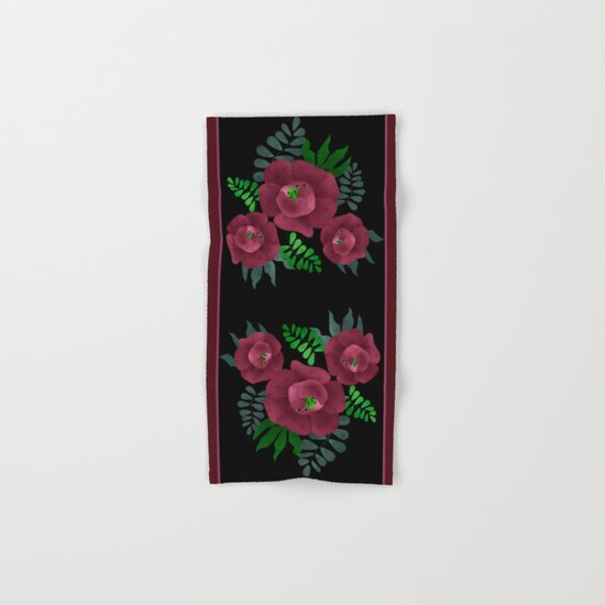 Burgundy roses. Hand & Bath Towel