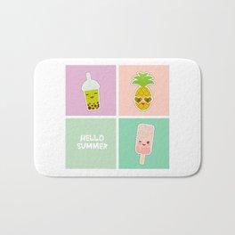 Hello Summer bright tropical card, pineapple, smoothie cup, ice cream, bubble tea. Kawaii cute face. Bath Mat
