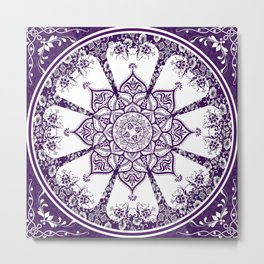 Purple & White Flourish Mandala Design Metal Print