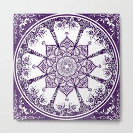 Purple & White Flourish Mandala Design Metal Print
