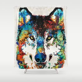 Wolf Art Print - Hungry - By Sharon Cummings Shower Curtain