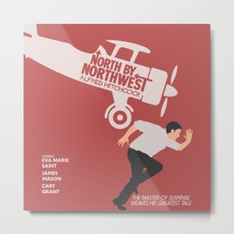 North by northwest, Alfred Hitchcock minimalist movie poster, thriller, Cary Grant, Eva Marie Saint Metal Print