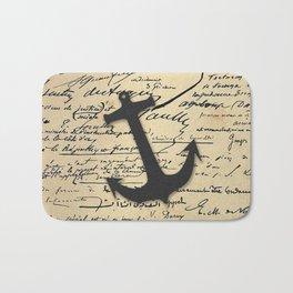 Vintage gray retro nautical anchor marine paper Bath Mat