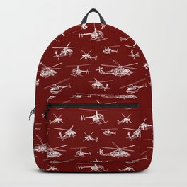 Helicopters on Maroon Backpack