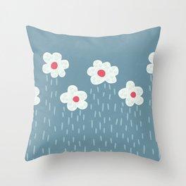 Rainy Flowery Clouds Throw Pillow