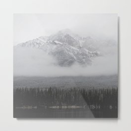 Foggy Mountains and Trees by a Lake Metal Print