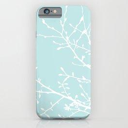 Magnolia Tree Pastel Blue iPhone Case