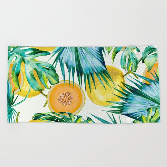 Leaf and melon pattern Beach Towel