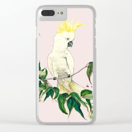 Sulphar Crested Cockatoo Gum Flower Pink Clear iPhone Case