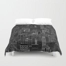 City Doodle (night) Duvet Cover