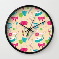 sewing Wall Clocks featuring Sewing Session by Valentina Cariel