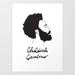Childish Gambino - Minimalist profile portrait Art Print