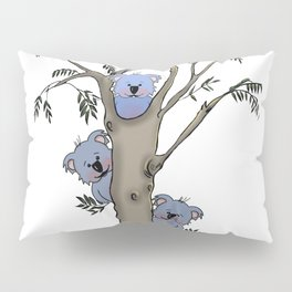 The Little Bear in a tree with other blue koalas Pillow Sham