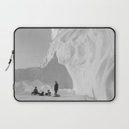 Under the Polar Berg with Dog Sled, Antarctic black and white photography / photographs by Herbert Ponting Laptop Sleeve