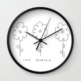 Words from Flowers - black and white flowers illustration Wall Clock