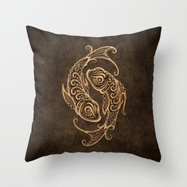 Vintage Rustic Pisces Zodiac Sign Throw Pillow