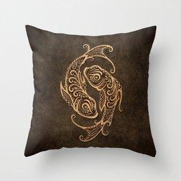 Vintage Rustic Pisces Zodiac Sign Throw Pillow