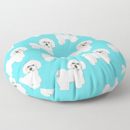 Bichon Frise on aqua / teal / cute dogs/ dog lovers gift Floor Pillow