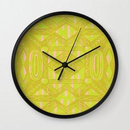 vintage kantha: chartreuse Wall Clock