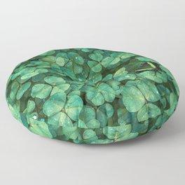 Lucky Green Clovers, St Patricks Day pattern Floor Pillow