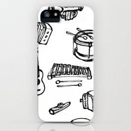 Toy Instruments, Black and White iPhone Case