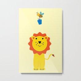 Lion and bee Metal Print
