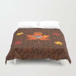 Grey Squirrel Autumn Pattern Duvet Cover