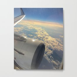 Sun And Clouds From Plane Metal Print