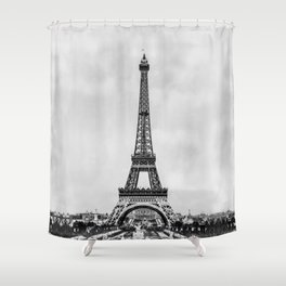 Eiffel tower, Paris France in black and white with painterly effect Shower Curtain