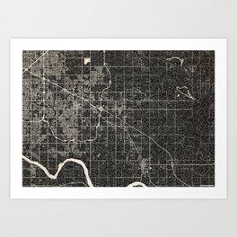 Broken Arrow map Oklahoma ink lines Art Print