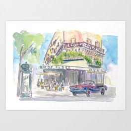 Paris Street Scene Romantic Cafe Art Print
