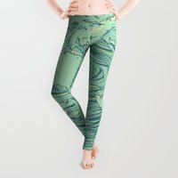line Leggings featuring Ocean Breath by Huebucket