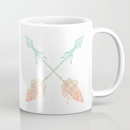 Arrows Turquoise Coral on White Coffee Mug